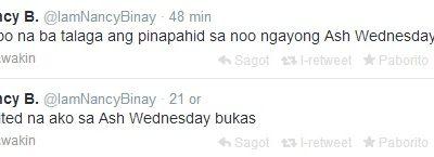 Nancy B. Nung Ash Wednesday